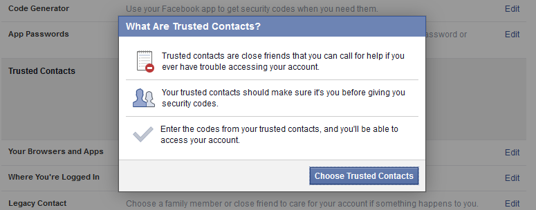 What are trusted facebook contacts
